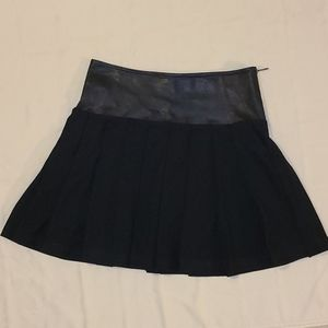 Burberry Brit Leather & Wool Pleated Mini Skirt